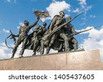 """Small photo of Saint Petersburg, Russia - May 10, 2019: Monument """"Heroic defenders of Leningrad"""" on Victory Square - a monument to the feat of citizens in the tragic days of the siege of 1941-1944."""