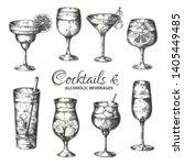 hand drawn cocktails. vintage... | Shutterstock .eps vector #1405449485