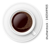 white mug of coffee with foam... | Shutterstock .eps vector #140549905