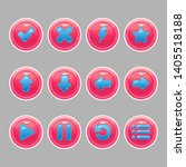 pink round buttons with blue...