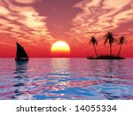 sunset coconut palm trees on... | Shutterstock . vector #14055334