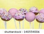 pink cake pops on yellow... | Shutterstock . vector #140554006