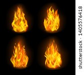 set of isolated 3d fire or...