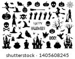 halloween icons silhouettes.... | Shutterstock .eps vector #1405608245