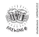cheers toast. glass of beer in... | Shutterstock .eps vector #1405641212