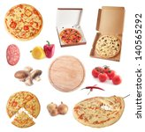 set of ingredients and pizzas   Shutterstock . vector #140565292