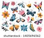 spring flowers and butterflies. ... | Shutterstock . vector #1405696562