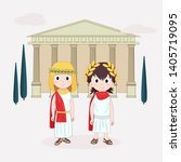 girl and boy wearing ancient... | Shutterstock .eps vector #1405719095