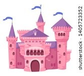 pink fairy magic castle. on a... | Shutterstock .eps vector #1405723352