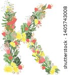 floral alphabet letters with... | Shutterstock .eps vector #1405743008