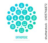 orthopedic concept. thin line... | Shutterstock .eps vector #1405746872