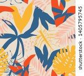 bright summer tropical seamless ... | Shutterstock .eps vector #1405795745