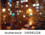 Drops Of Night Rain On Window ...