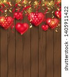 romantic background with hearts ... | Shutterstock .eps vector #1405911422