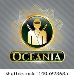 shiny badge with ninja icon...   Shutterstock .eps vector #1405923635