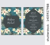 dark tropical floral wedding... | Shutterstock .eps vector #1405927988