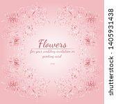 wreath of roses or peonies... | Shutterstock .eps vector #1405931438