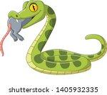 Cartoon Green Snake Eating A...