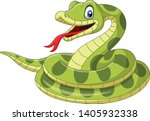 Cartoon Green Snake On White...