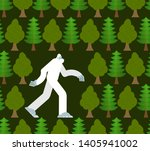Stock vector yeti in forest pattern seamless bigfoot and trees background abominable snowman ornament 1405941002