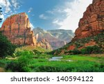 Zion Canyon, with the virgin river, Zion National Park, Utah, USA