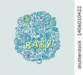 doodle flat round template.... | Shutterstock .eps vector #1406010422