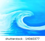 great wave on a blue background ... | Shutterstock . vector #14060377