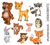 Stock vector vector illustration of a happy fox rabbit bear deer hedgehog owl raccoon squirrel mouse 1406038472