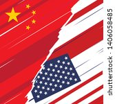 usa and china war trade concept.... | Shutterstock .eps vector #1406058485