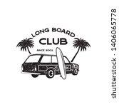 vintage surf logo print design... | Shutterstock .eps vector #1406065778