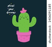 cute funny happy cactus in pink ... | Shutterstock .eps vector #1406091185