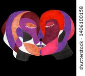 kiss in abstract style. hand... | Shutterstock . vector #1406100158