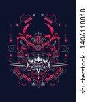 samurai mask with sacred... | Shutterstock .eps vector #1406118818