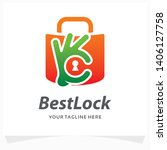 best lock logo design template | Shutterstock .eps vector #1406127758