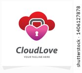 cloud love lock logo design... | Shutterstock .eps vector #1406127878