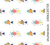colorful fish seamless vector... | Shutterstock .eps vector #1406135735
