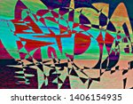 colorful pixel psychedelic... | Shutterstock . vector #1406154935