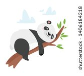 lazy panda bear sleeping on... | Shutterstock .eps vector #1406184218