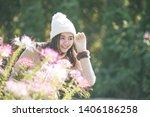 portrait of happy asian young... | Shutterstock . vector #1406186258