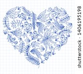 hand vector drawn floral ... | Shutterstock .eps vector #1406195198