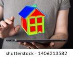 house model illustration 3d in... | Shutterstock . vector #1406213582