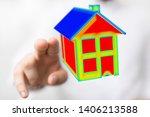 house model illustration 3d in... | Shutterstock . vector #1406213588