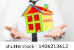 house model illustration 3d in... | Shutterstock . vector #1406213612