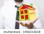 house model illustration 3d in... | Shutterstock . vector #1406213618
