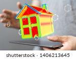 house model illustration 3d in... | Shutterstock . vector #1406213645
