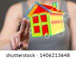 house model illustration 3d in... | Shutterstock . vector #1406213648