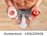 diet. woman measuring body...   Shutterstock . vector #1406220428