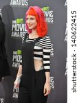Small photo of LOS ANGELES, CA - APRIL 14, 2013: Singer Hayley Williams of Paramore at the 2013 MTV Movie Awards at Sony Studios, Culver City.