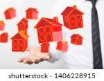 home concept 3d model in hand | Shutterstock . vector #1406228915