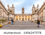 michelangelo capitoline steps... | Shutterstock . vector #1406247578
